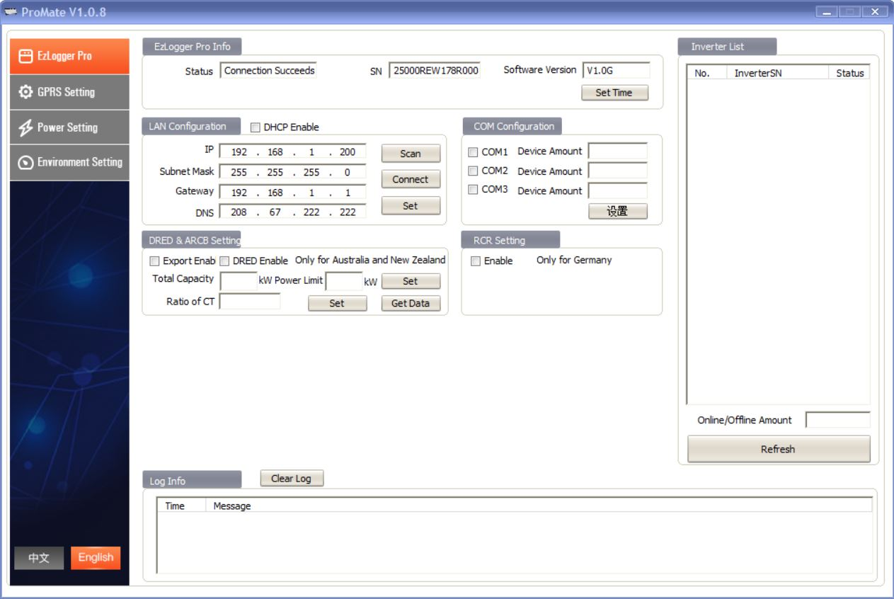 ProMate the GoodWe EzLogger Pro configuration tool